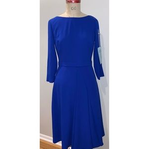 Kay Unger Cobalt blue fit and flare dress